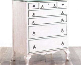White Desk Dresser With Green Accent Trimming