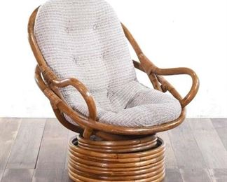 Vintage Curved Rattan Rocker Chair With Cream Cushion