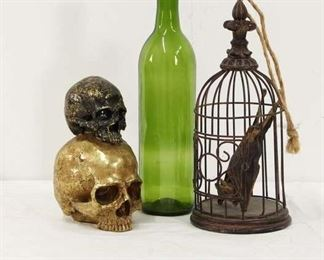 Taxidermy Bat And Skull Decorative Halloween Ornament