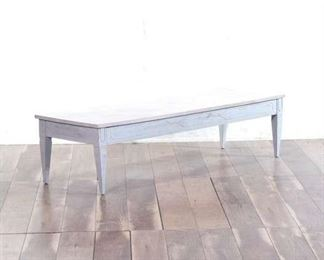 Mid-Century Whitewashed Bench Style Coffee Table
