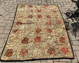 "Vintage hooked rug (as is)                                                  125.00 70"" x 52"""