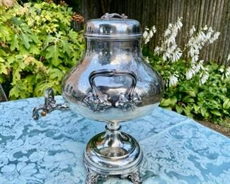 Antique Elkington silver-plate hot water urn