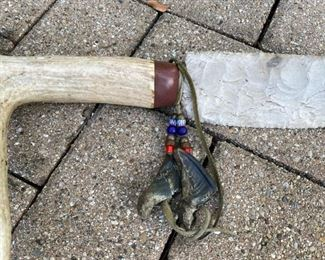 Bone and chipped stone knife    18 1/2""