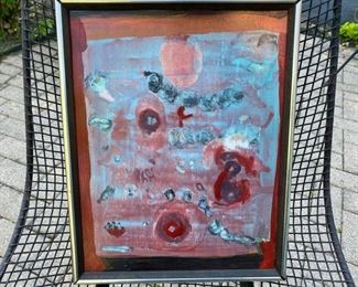 "Andres Amodio  abstract painting   	285.00                frame size 15"" x 12 1/2"""