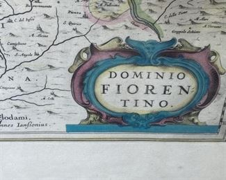 "17th c. Map of Florence                                                           frame size 21""h x 25""w      water stains"