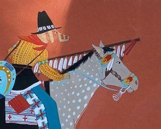 "Susi Nagoda-Bergquist  ""Kelox on Grey Buffalo Horse""  Gouache                                                                                650.00                                                                                     frame size 17""h x 19 1/2""w"