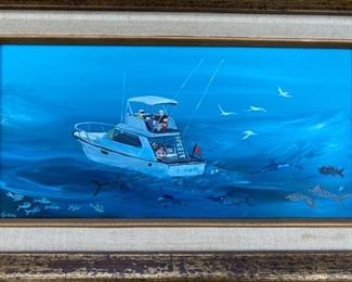 "Painting of Boat signed Diana                                       150.00  frame size 14 1/4"" x 20 1/4"""