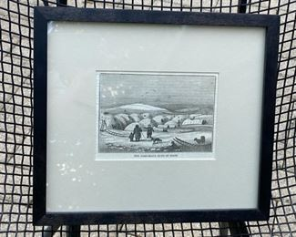 "Engraving of Esquimaux village                                   85.00       frame size 10 1/2""h x 12""w"