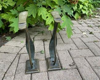 "pair brass shoe forms 14""h                                              85.00"