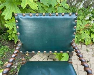 "Green leather and barley twist wood armchair   225.00 wear on leather seat          37""h x 24""w x 26""d"