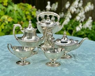 "Gorham sterling ""Plymouth""  5 pc. tea service                        monogrammed"