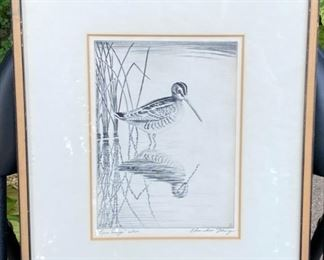Church Ettinger (1903- 1984) etching snipe