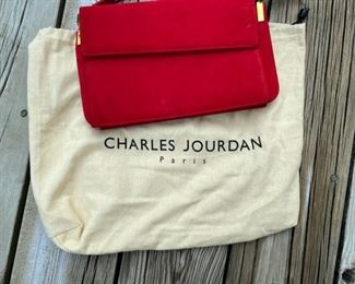 "Charles Jourdan red suede and leather bag        35.00      6 1/4""h x 10 1/2w"