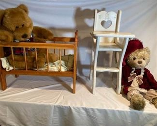 Doll Crib High Chair and Teddy Bears
