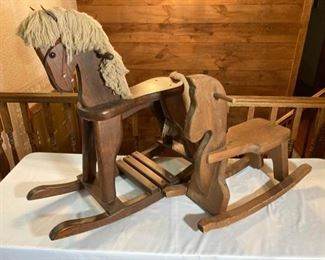Two Wood Rocking Horses