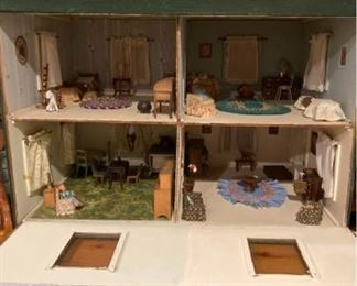 Vintage Handmade Dollhouse and Furniture