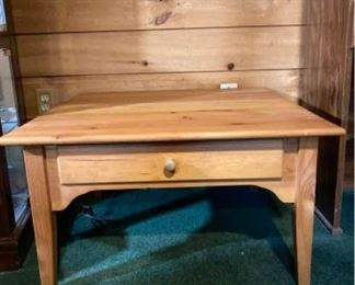 Wood Square Table with 1 Drawer