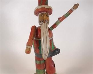 """Sticks brand large Carved Wood Santa, just in time for the Holidays.  18"""" x 10"""" x 6""""   $240.00"""