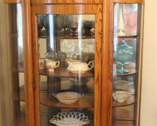 Oak Curio Cabinet, Vintage Milk Glass, Fenton, Crystal, Vintage Pottery