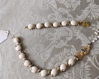 "VINTAGE ""CORO"" NECKLACE  SHELL SHAPED SETTING MISSING 2 SHELLS, BRACELET MISSING ONE SHELL   $30.00"