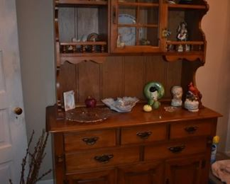 Beautiful Mid-Century China/Display Hutch with Pull Drawers and Cabinet Doors and Collectibles