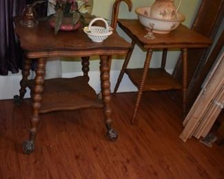Antique Ball and Claw Lamp Table with large talons and claws, plus an Antique Fern/Lamp Table with spool style legs