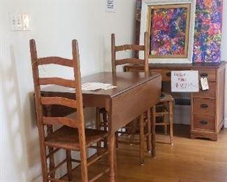 Drop leaf table $112.50 Ladder back chairs $37.50 each Desk $87.50 Canvas Art $10 each