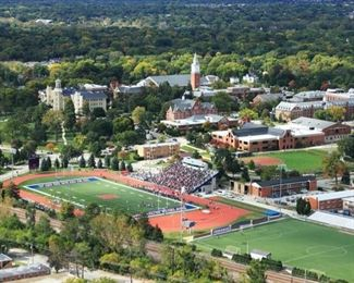 Wheaton College Arial View.  Home is only blocks from Wheaton College Campus