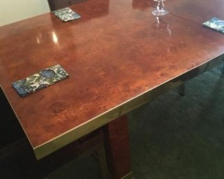 Truly fabulous vintage Burled Wood (Olive I think) Dining Table produced and signed by Pierre Cardin and designed by Milo Baughman!!! Both leaves are included so it can go giant just in-time for Thanksgiving and we have 8 chairs... including the 2 captains!!!! A real once in a lifetime opportunity!
