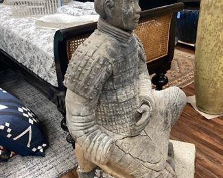 "X'ian Warrior Terra Cotta Statue, 45"" H. In disrepair."