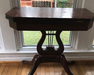 """$45 / Harp base, flip-top accent table (not in great shape, but could be painted to freshen up. Measurements:  30"""" wide x 15"""" deep x 29.5"""" tall"""