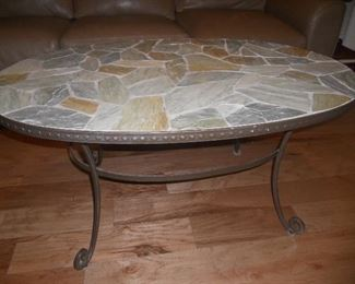 iron and stone coffee table