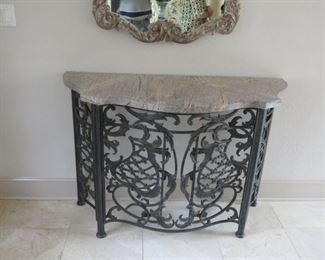 MARBLE TOPPED WROUGHT IRON FOYER TABLE