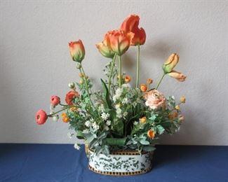 Designer faux arrangement in gorgeous cachepot.
