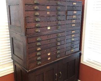 Primitive flat filing cabinet