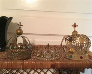 Three brass and rhinestone crowns
