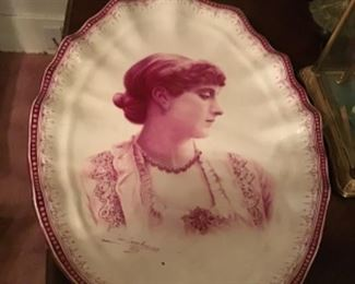 Large Antique French Portrait  Platter.  Signed.  Very Unusual dated 1883