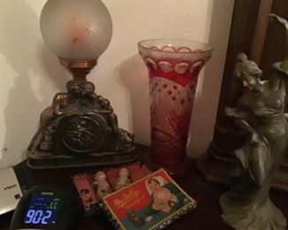 Lamp, dolls in Orig Box,  Art Glass Vase