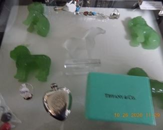 LALIQUE HOSRE, STERLING PERFUME, JADEITE HORTSES AND DRAGONS