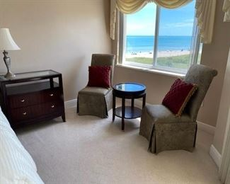 UPHOLSTERED SIDE CHAIRS IN KING BEDROOM