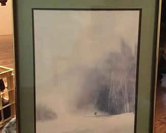 """Bill Alexander signed watercolor 1971 Professionally matted and wooden frame. """"Timber Powder"""" 24x21».        $70"""