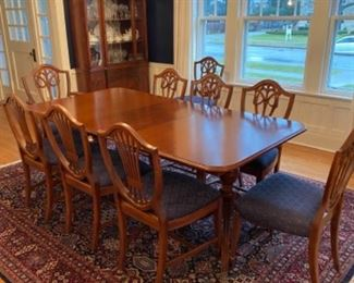Beautiful Eastlake dining table with 9 chairs matching large & small buffet and breakfront. Table measuring 62l (79.5 with 2 custom leaves) 42 w 30 h Selling set together or as a group. Breakfront in photo 43x76x15 Price for all $2900. See matching  pieces in following photos