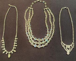 Vintage necklaces. Rhinestone glass stones, cut glass bead and smaller cut glass. All good clasp and no missing stones. None marked. Lot of (3) $20