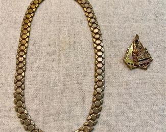 "Vintage necklace marked ""Reinad"", gold tone links all in good condition and good clasp. Gold tone locket without chain. Looks to be very old and unusual design. Both for $6"