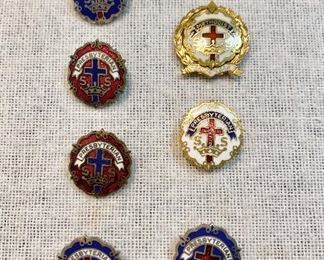 "Vintage church pins, silver tone Presbyterian and 2 gold tone Methodist & Presbyterian. All marked on the back ""Little System"". The larger Methodist is marked 1/20 of gold filled. (Lot of 7) $10"