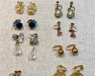 Vintage earrings clip and screw on. All good except one, which has the glass tear drop unattached to clasp. None are marked. (Lot of 10) $12