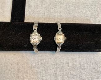 "Vintage ""Bulova"" ladies watches. Both are running. One on right marked ""Swiss"". $12"