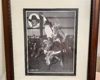 "Framed picture of ""Sam Minnick"" PRCA bullrider. Measure 15"" x  17 1/2"". $15"