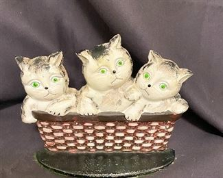 Cast iron door stop of kittens. $15