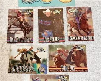 "Rodeo cards by High Gear ""1995"", calf roping, steer wrestling, barrel racing, bronc riding. Joe Beaver, Dan Mortensen, Todd Fox, Marvin Garrett, Charmayne Rodman & Bobby Joe Skoal. (Lot of 7) $5"